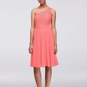 Short One Shoulder Corded Lace Bridesmaid Dress